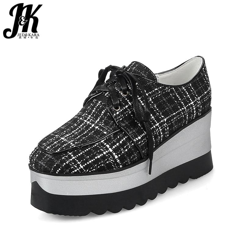 JK 2018 Brand Designer Women Flats Square Toe Plaid Lace Up Stitching Footwear Spring Fashion Casual Ladies Platform Ladies Shoe кроссовки supra womens skytop sw18026