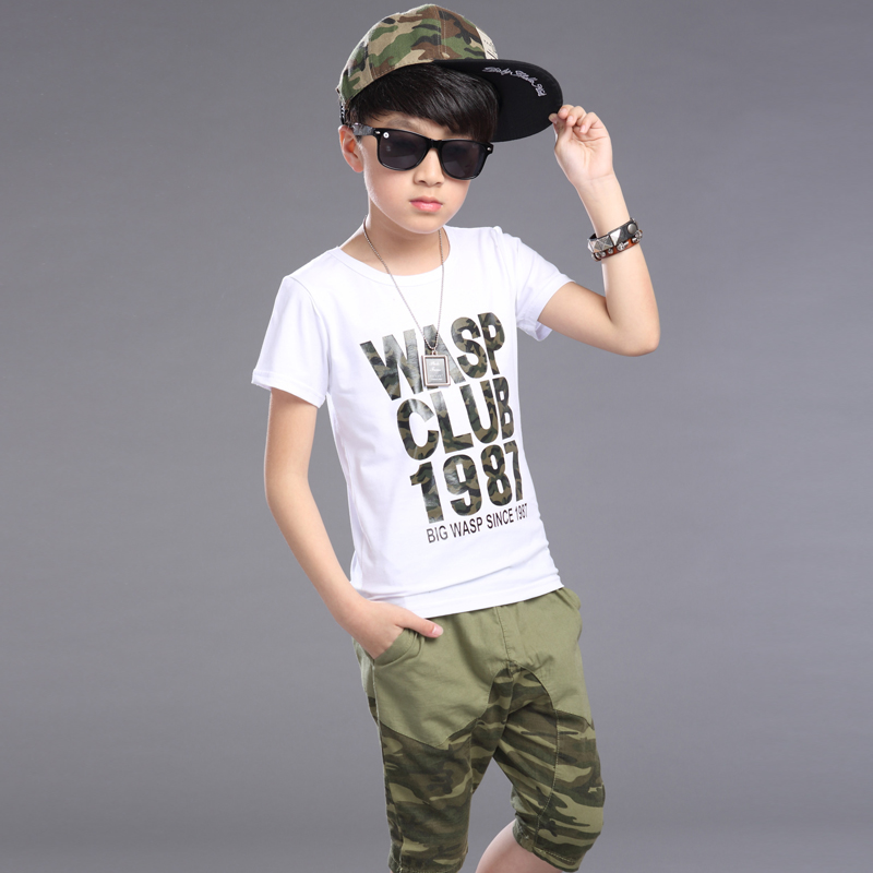 e7e0442cd 2016 Summer New Boys Children's Clothing Sets ( Tees + Pants) Kids Printed T  Shirts Camouflage Knee Length Capris For Age 4 12Y-in Clothing Sets from  Mother ...