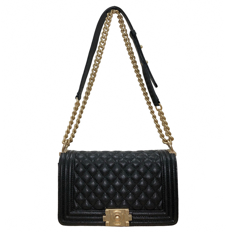 Classic Le Boy Flap bag women/'s Plaid Chain Shoulder Top Quality BLACK CAVIAR