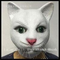 O envio gratuito de Festa de Halloween Cosplay Adulto Látex Gatinho W/Peles De Animais Traje Do Animal de Estimação de Borracha Branca Máscara de Gato Livre tamanho