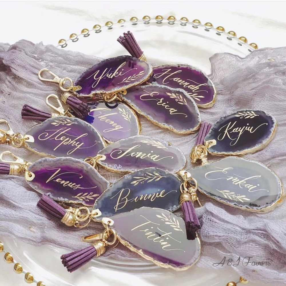 1pcs lot Unique Custom name Agate Keychain Birthday gifts Bridal party Maid of honor Personalized Wedding Bridesmaid gift