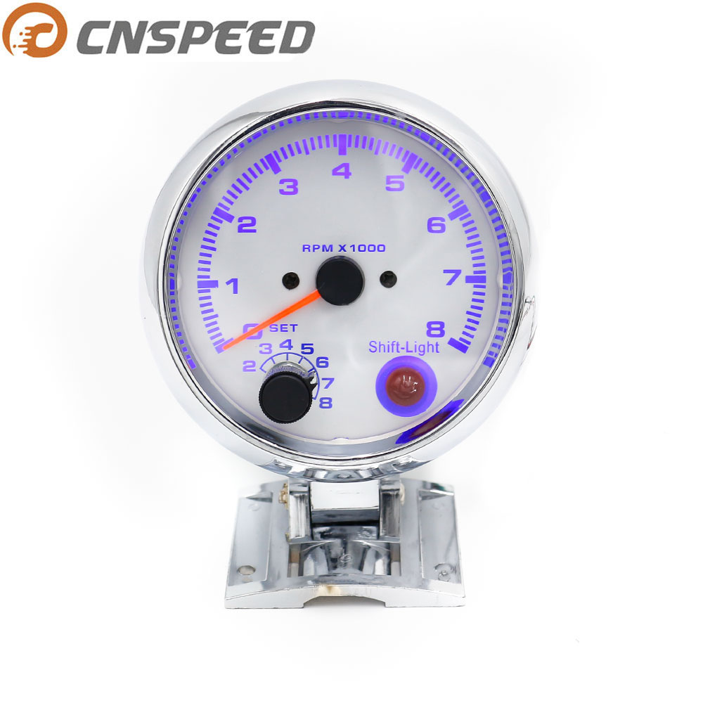 CNSPEED Jauge de tachymètre universelle 0-8000 tr / min 80 MM avec lumière inter shift Chorme Color Racing Meter Blanc YC100140-CN