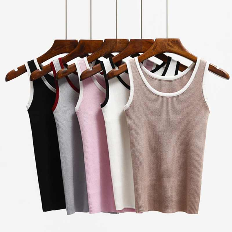 61461a071d521 GIGOGOU 2019 High Quality Knitted Women Tank Top Euro Style Sleeveless T  Shirt Fashion Casual Summer