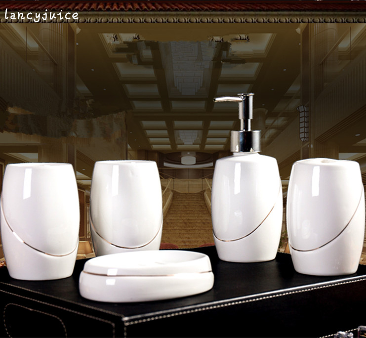Gold Line Porcelain Bathroom Sets Five piece 5 tray 3 cups and ...