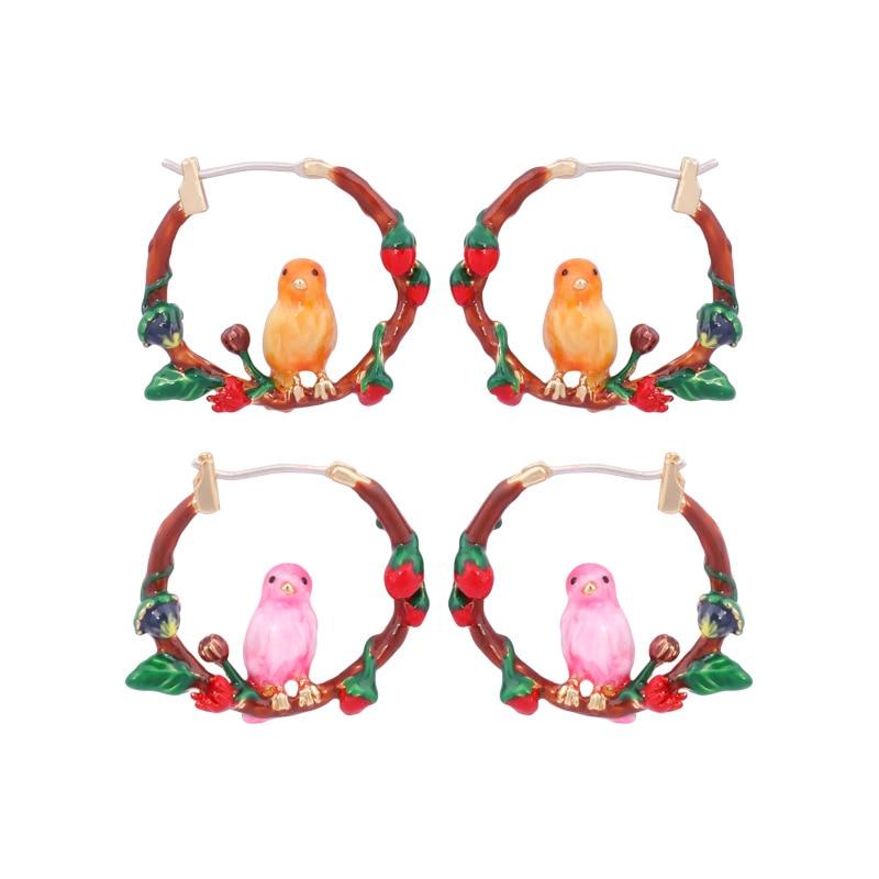 Hand Painted Enamel Rose Leaves Bird Hoop Earrings Copper Alloy Plating Gold Earring Red Flowers Top Quality Luxury Jewelry E483 bird hoop drop earrings