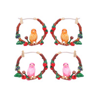 Hand Painted Enamel Rose Leaves Bird Hoop Earrings Copper Alloy Plating Gold Earring Red Flowers Top Quality Luxury Jewelry E483