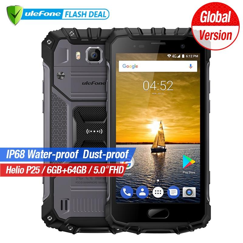 Ulefone Armatura 2 6 gb di RAM 64 gb ROM Impermeabile IP68 Mobile Del Telefono 5.0 pollice FHD MTK6757 Octa Core Android 7.0 16MP Cam 4g Smartphone