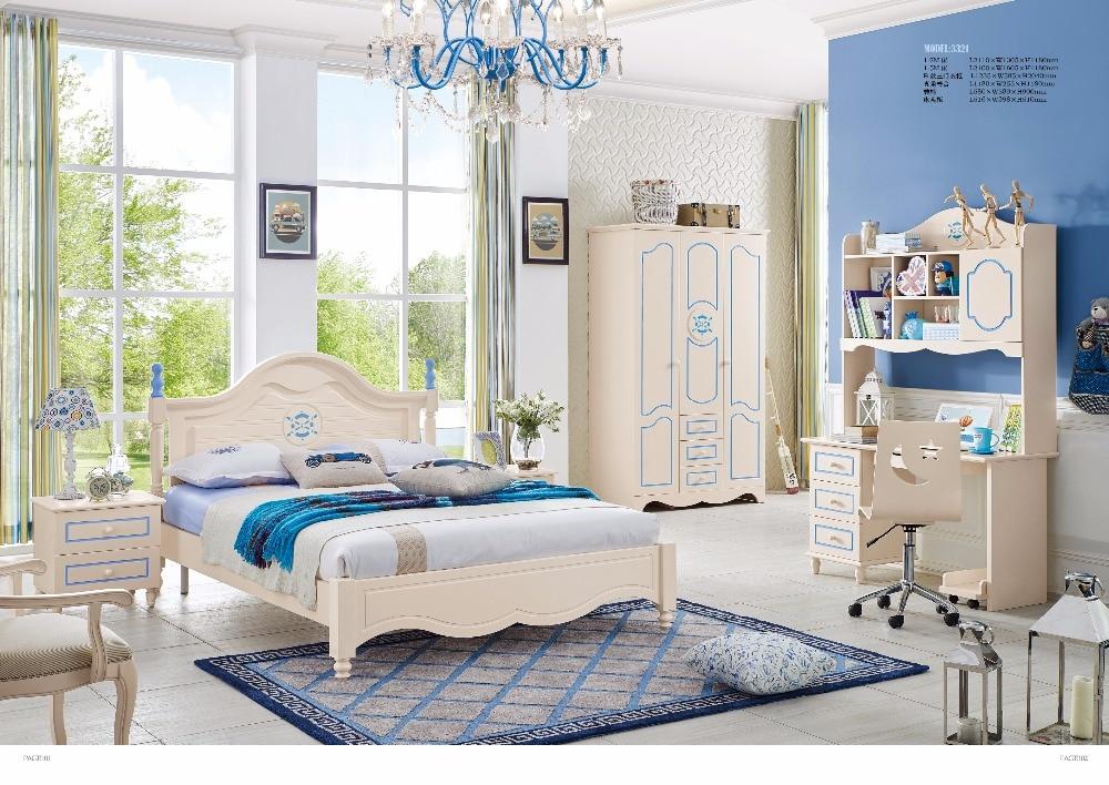 JLMF3321 Ash solid wood children bedroom furniture set health Environmentally friendly children bed wardrobe desk bedside table