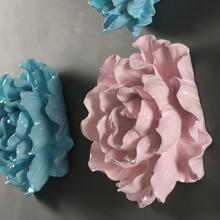 Горячая Распродажа Европейский 3D Смола цветок настенный домашний бар интерьер ремесло ТВ фон украшение стены белый розовый синий цветок