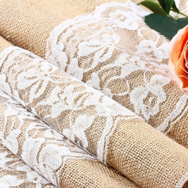 Burlap And Lace Table Runner Rustic Wedding Decoration Runners Length  Available 1pcs