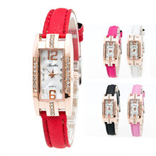 Fashion unique quartz watch Women's Bracelet Watches slim leather strap crystal wrist watch relogios feminino wholesale