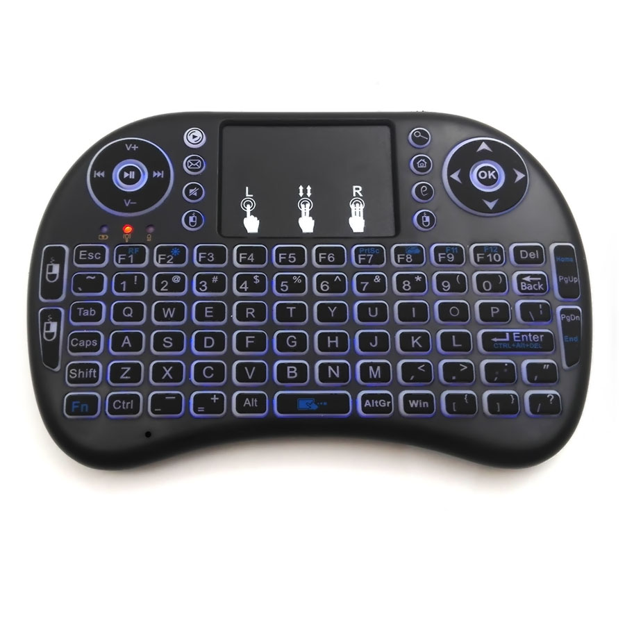 Mini Wireless remote Control Keyboard with Backlit 2.4GHz Qwerty Touchpad Air Mouse  For HTPC PS3  Xbox360 TV Box Laptop Tablet t2 2 4ghz ultra thin wireless mini keyboard with touchpad mouse colorful backlit