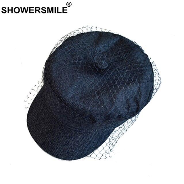 SHOWERSMILE Newsboy Cap Women Black Flat Caps With Veil Ladies Elegant  Denim Baker Boy Caps Duckbill British Autumn Painter Hats ccd295900e1