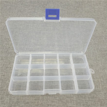 Multifunctional Organized 17*10*2cm with 15 Slots Compartments Transparent Visible Plastic Fishing Lure Box Fishing Tackle box