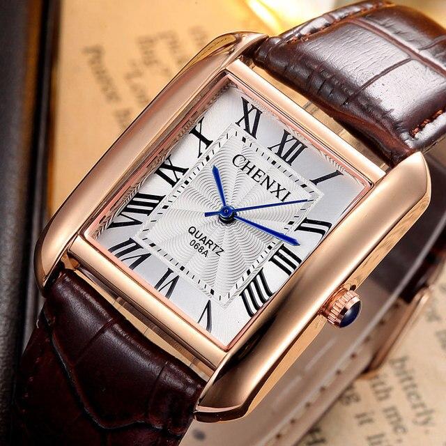 Marca de lujo Chenxi hombres mujeres Casual cuarzo Relojes Retro cuadrado  diseño romano números minimalismo cuero c1e4c1a4395a