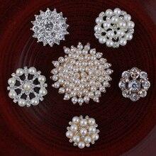 30 stücke Vintage Handgemachte Metall Dekorative Tasten + Kristall Perlen Handwerk Liefert Flatback Strass Tasten für Haar Zubehör