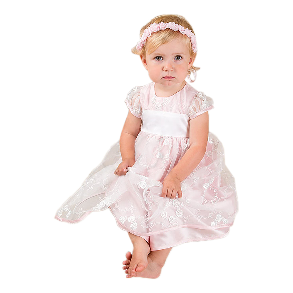 With Headband Baby Dress 3 Colors Short Sleeves Ankle Length Back Button O-Neck Birthday Dress Vestido Infantil Christening Gown