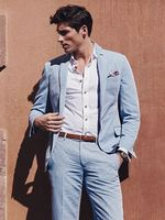 2018 sky blue linen men suit notched lapel suit for summer beach wedding prom casual loose tailor made suit blazer jacket+pants