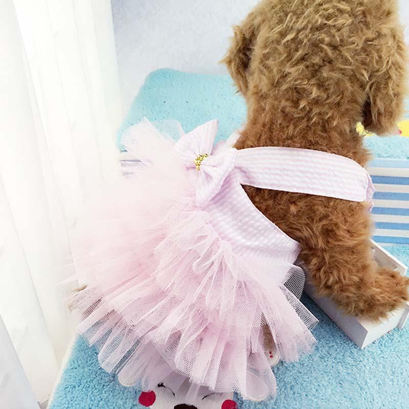Girl Pet Clothes Cat Dog Tutu Dress Striped Bow Puppy Costume Apparel Princess Dresses E2S day dress