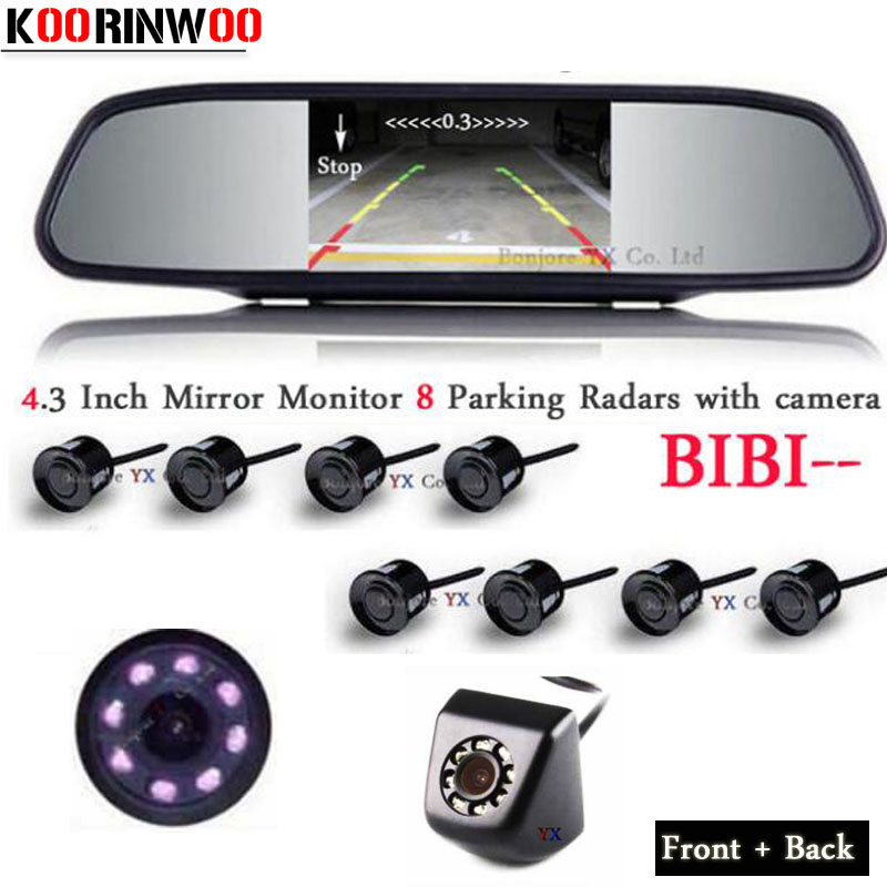 цена на Koorinwoo HD Car Parking Sensors 8 Radars BIBI Alarm Parktronic 4.3/5 Monitor Mirror Front Camera Car Rear view Camera Detector
