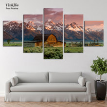 Canvas Painting On Wall Art 5 Pieces Barn Rocky Mountains HD Printed Landscape Poster Picture Cuadros Decoration Bedroom Frames(China)