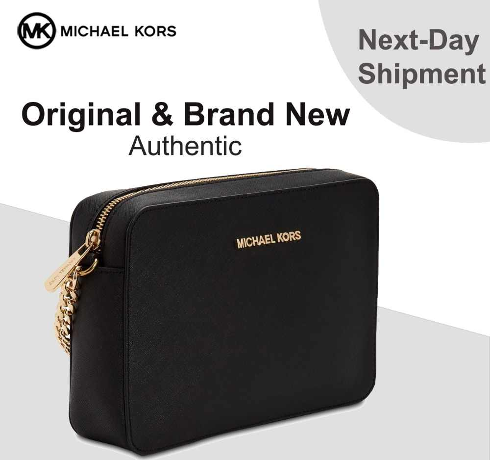 Detail Feedback Questions about Michael Kors Jet Set East West Crossgrain  Leather Crossbody (Black/Gold) Luxury Handbags For Women Bags Designer by MK  on ...