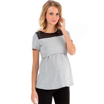 5ae4aea01 Encaje maternidad enfermería Tops manga corta embarazo lactancia camiseta  alimentación camisetas para las mujeres embarazadas ropa de maternidad
