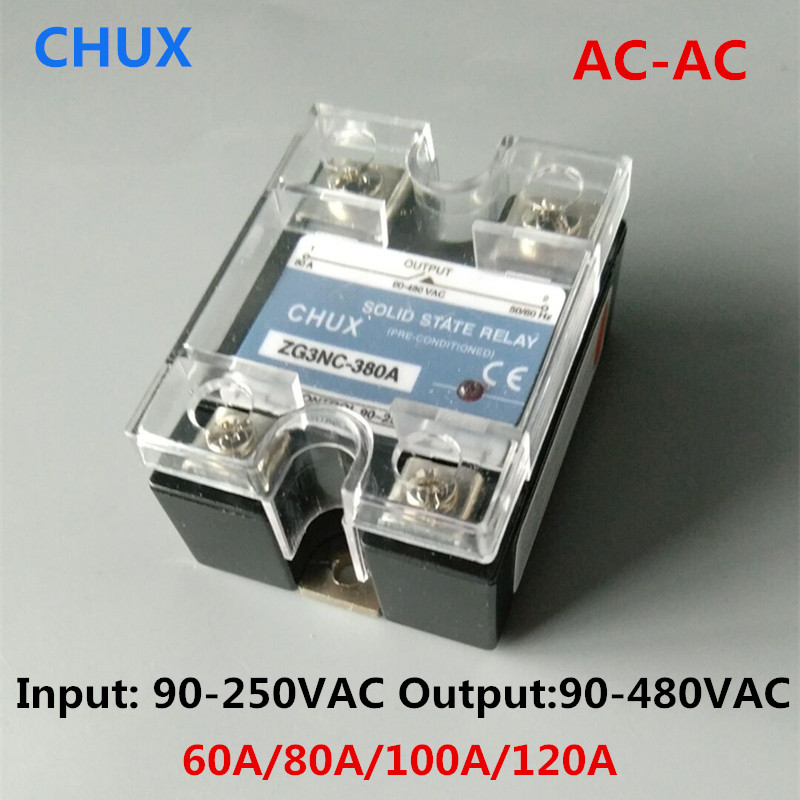 CHUX AC-AC Single Phase Solid State Relay 60a 80a 100a 120a 90-480VAC 3-32VDC AC to AC SSR Relay dc to ac solid state relay ssr 40a 3 32vdc 90 480vac w aluminum heat sink