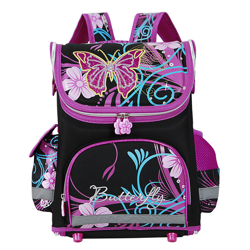 Girls Butterfly School Bags Nylon Orthopedic Princess Backpacks for Primary Students Children Kids Bookbag Schoolbags Esc