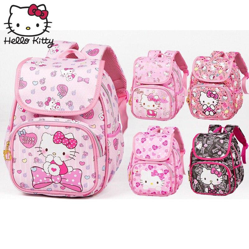 Hello Kitty Bag Cute Cartoon Bag Hellokitty Fashion Baby KT Pink Shoulder PU Waterproof Girl Schoolbag Shoulder Plush Backpack