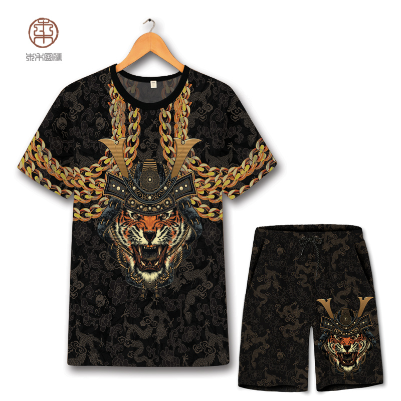 Domineering Tiger head 3D printing hip hop t shirt and shorts suit Summer 2018 New quality soft breathable mens short sets S 6XL