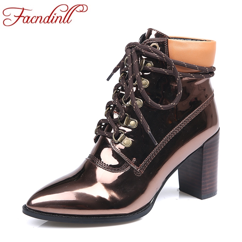 FACNDINLL new 2017 autumn winter women ankle boots genuine leather high heels pointed toe shoes woman dress party rinding boots facndinll new black patent genuine leather pointed toe rhinestone sexy high heels lace up women pumps ladies party casual shoes