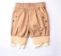 De color caqui niños pantalones niñas pantalones cortos de encaje de moda Shorts del niño del bebé de la ropa Harem niños pantalones de algodón pantalones Pantalon