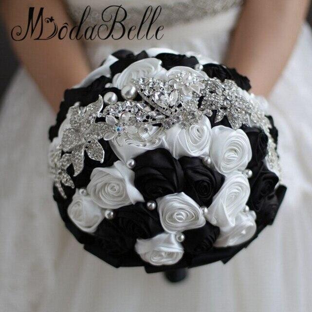 Modabelle benutzerdefinierte bruidsboeket satin schwarz weiß ...