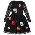 2017 Летние Девушки Одеваются Новый Фирменный Стиль Кружева Цветок Вышивка Платье Принцессы Моды Три Quarte Детей Платье Детская Одежда