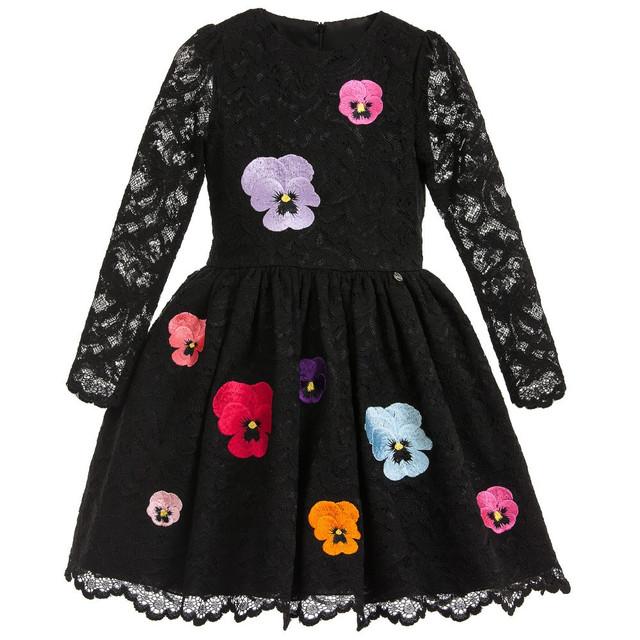 2017 Meninas de Verão Vestido Novo Estilo Da Marca Flor Do Laço Bordado Vestido de Princesa Da Moda Três Quarte Crianças Vestido Roupa Dos Miúdos