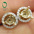 Popular 4.5x4.5mm Round Cut 14k Yellow Gold & 0.22ct Diamond Semi Mount Earring Settings