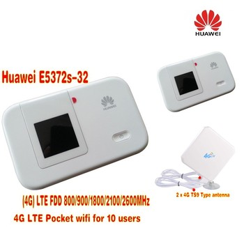 HUAWEI E5372s-32 4G 150Mbps LTE Cat 4 Pocket Mobile WiFi Hotspot+4G LTE 35DBI mimo panel directional antenna TS9