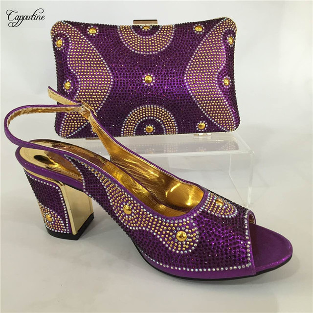 8d4e227598d Latest purple party African high heel pump shoes and evening bag set nice  matching for dress GY15