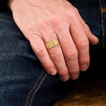 Bague classique en or pour hommes en acier inoxydable