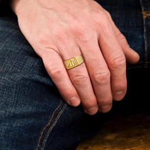 Classic Gold Tone Allah Signet Ring for Men Stainless Steel Pinky Band
