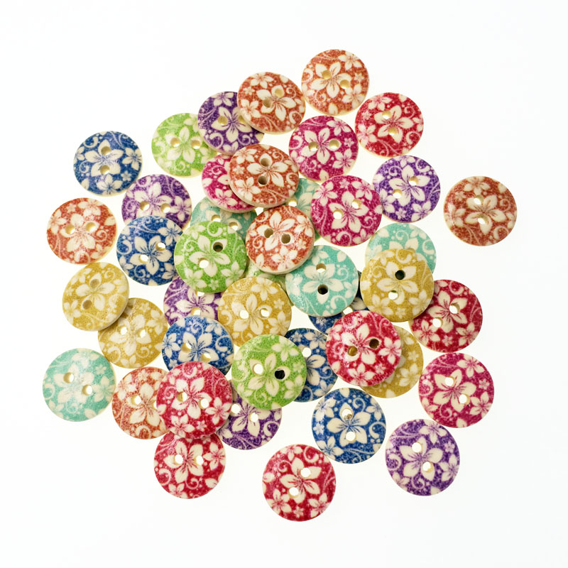 100pcs mixed flower diy wooden buttons for clothing for Decorative buttons for crafts