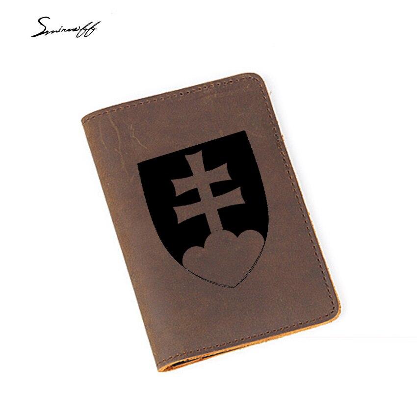 Hete Verkoop Reizen Slowakije Paspoort Case Mannen Creditcardhouder Custom Naam Geschenken Gegraveerd De Nationale Embleem Van Slowakije Paspoort Cover