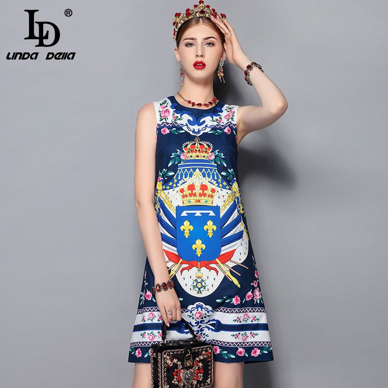 LD LINDA DELLA New Fashion Runway Summer Dress Women s Sleeveless Gorgeous Crystal Beading Printed Vintage