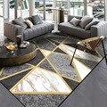 Goldene Metall Geometrische Bereich Teppiche Wohnzimmer Große Größe Bereich Teppiche Moderne Schlafzimmer Sofa Tisch Dekorative Tapete Boden Matten-in Teppich aus Heim und Garten bei