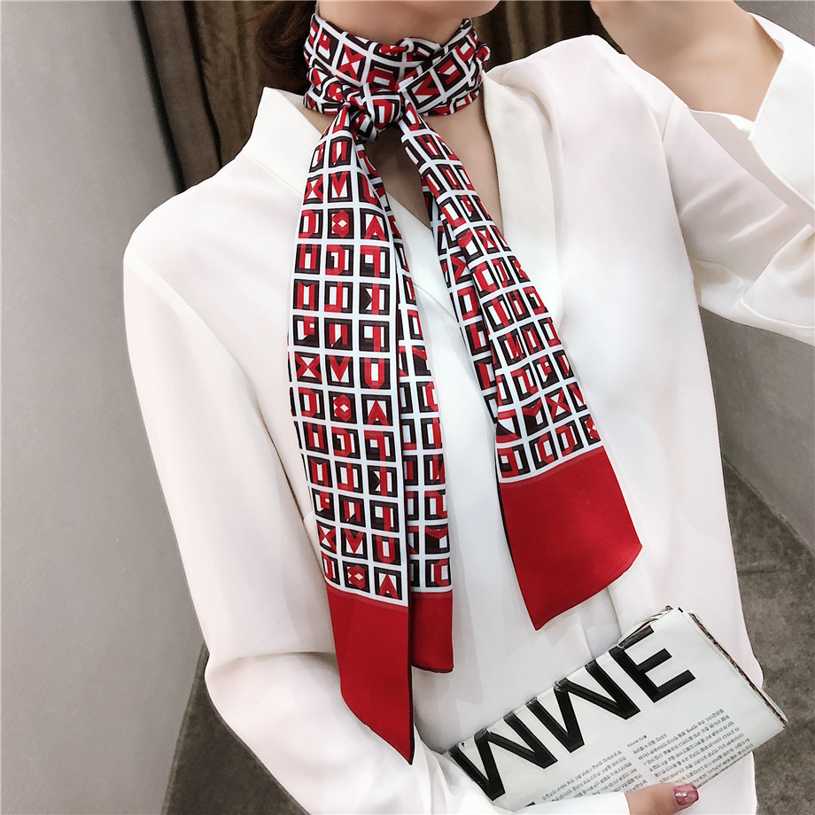 New Letters Luxury Brand Double-deck Twill   Scarf   Women Plaid   Scarf   Handkerchief Head Silk   Scarves     Wraps   Neckerchief For Ladies
