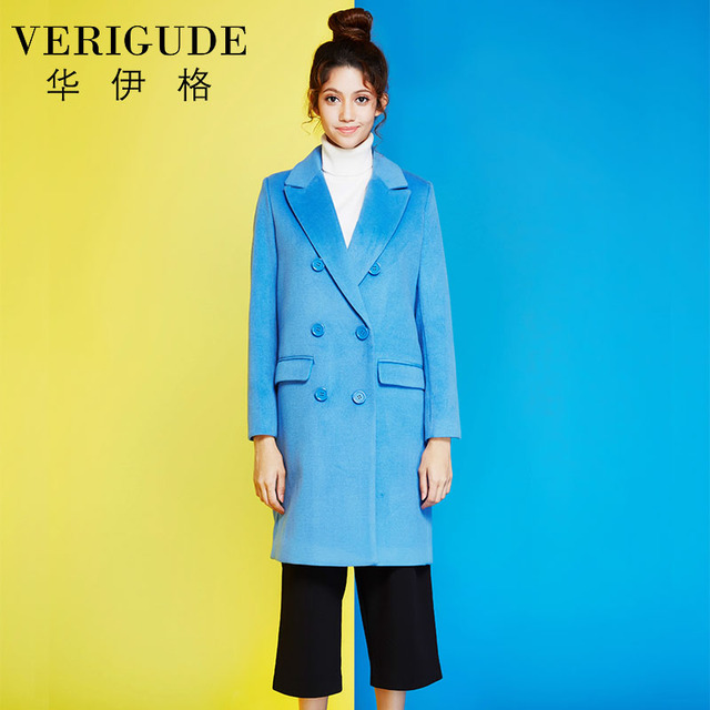 Veri Gude Women's Woolen Coat Straight Style Double Breasted Long Coat for Work