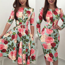 HIRIGIN Newest Women Bandage Bodycon Casual Long Sleeve Zipper Evening Party Midi Dress Floral Suits недорого