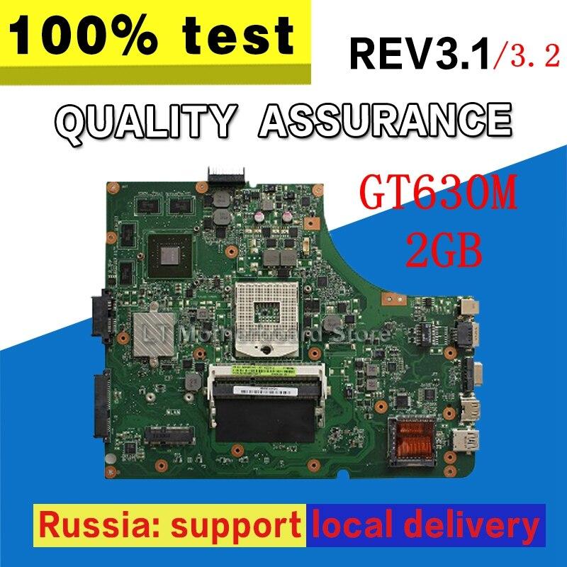 GT630M 2GB REV 3.1/3.2 K53SM motherboard For ASUS K53SC K53SV k53S X53S A53S K53SJ Mainboard 100% tested motherboard
