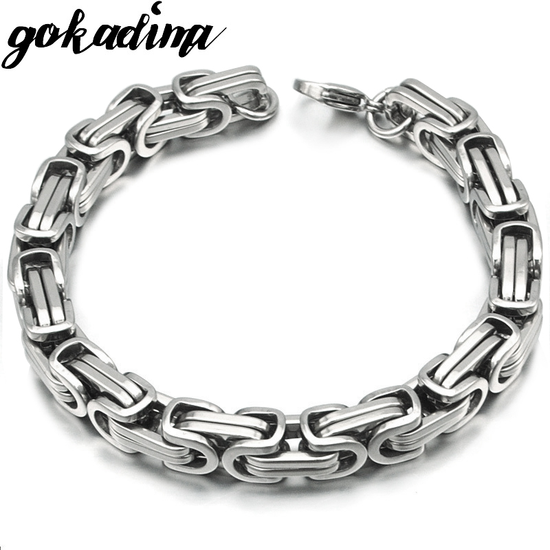 Silver Colour Stainless Steel bracelets Link Byzantine Chain Bracelet For MEN 2
